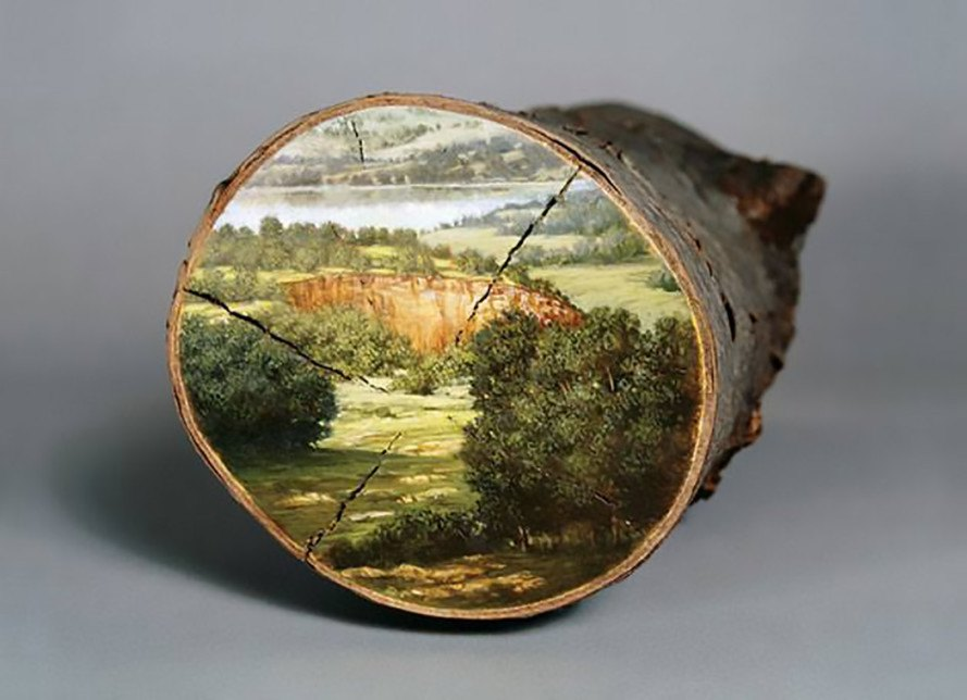 Alison Moritsugu, log paintings, Log Paintings by Alison Moritsugu, Littlejohn Contemporary, environmental art, Hudson River School, landscape paintings, American landscape, salvaged wood, wood art