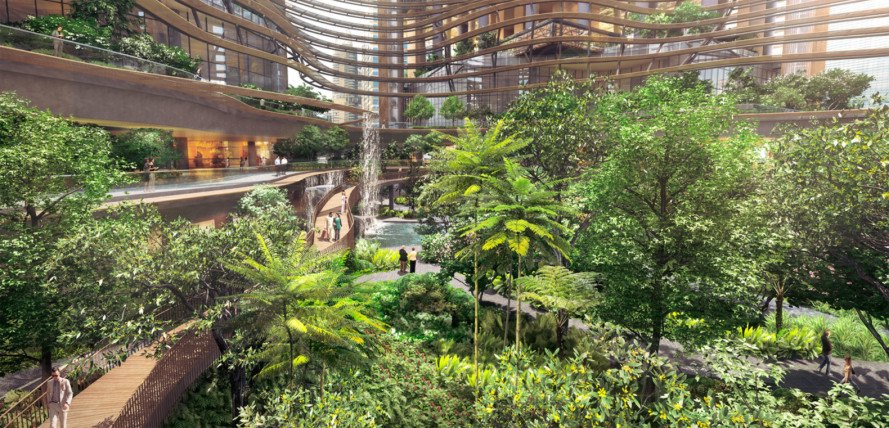 green design, eco design, sustainable design, Singapore, Marina One, Ingehoven Architects, A61, Gustafson Porter, sky gardens, green atrium, louvered facade