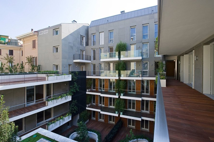 Westway Architects, green renovation, Milan, Italy, 19th century building renovation, natural lighting, internal courtyard, courtyard, residential architecture