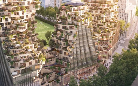 MVRDV, OVG Real Estate, competition, highrise, vertical village, mixed use building, Amsterdam, green facade, bay windows, green architecture