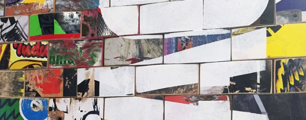 art of board s recycled skateboard tiles enliven new display inside