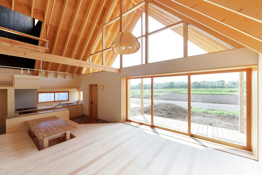 Tailored design Lab, Gabled Roof house, wooden house, Japan, pitched roof, vernacular architecture, natural light, natural ventilation, natural materials