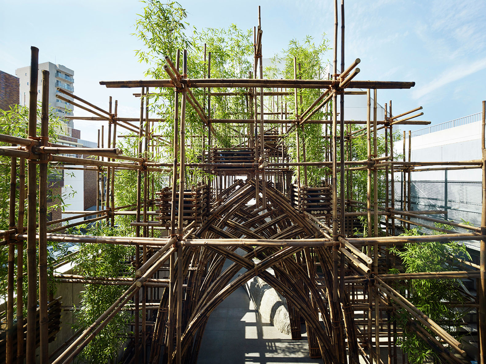 Vo Trong Nghia builds a lush rooftop pavilion with nothing but bamboo and rope