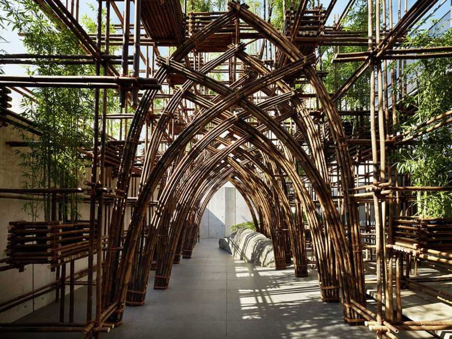 Vo Trong Nghia Architects, bamboo forest, bamboo, traditional techniques, Tokyo, temporary pavilion, pavilion, bamboo pavilion, green structure, Vietnam