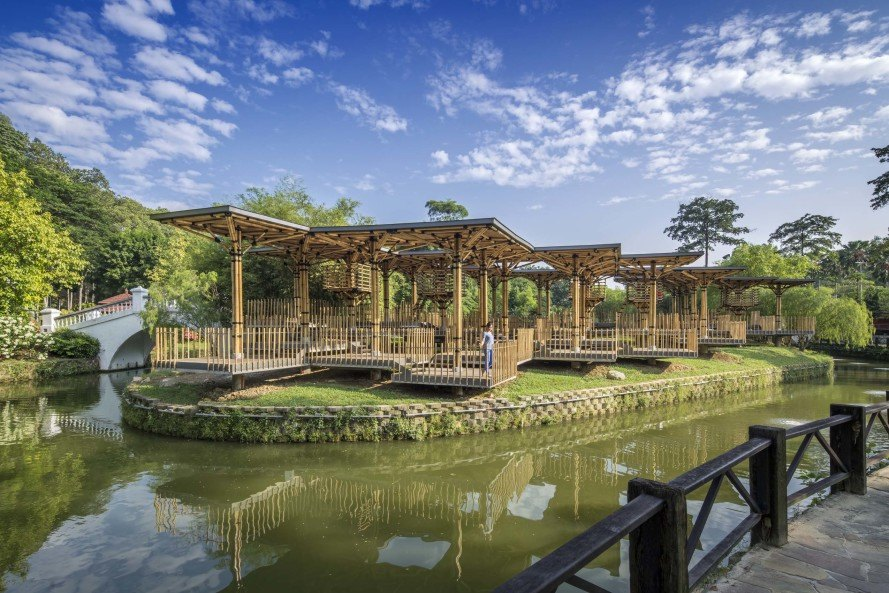 Bamboo Playhouse in Perdana Botanical Park, Malaysia, bamboo playhouse, bamboo construction, bamboo building, bamboo park pavilion, Perdana Botanical Park, Malaysia park, renewable construction, renewable materials, reader submission
