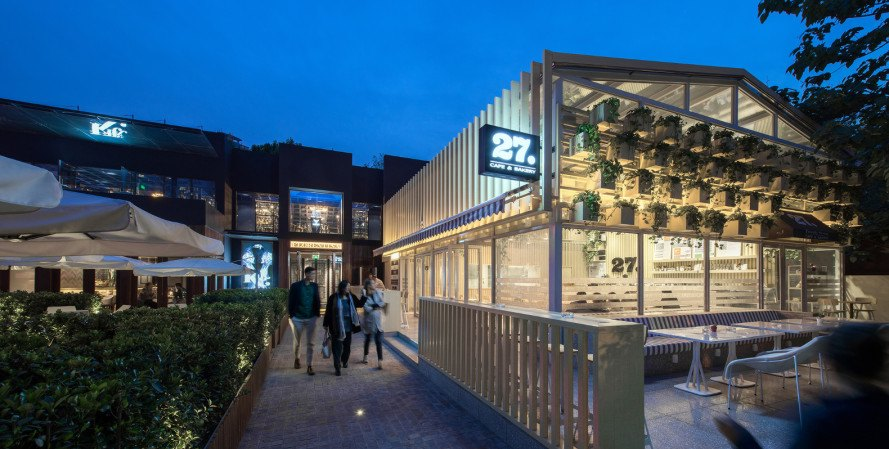 cafe 27, four o nine, indoor planters, daylighting, greenhouse cafe, energy efficient cafe, landscaping, indoor plants, cafe plants, green restaurant, green cafe