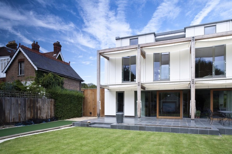 Passivhaus, Mole Architects, Cavendish Avenue house, Cavendish Avenue house by Mole Architects, solar heat gain, external sail shades, ground source heat pump, passive solar, passive solar home, energy efficient architecture, green architecture,