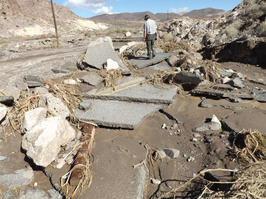 el nino, death valley, death valley flood, national park flood, death valley national park flood, flood destruction, flood damage, california flood, grapevine canyon flood, scotty's castle flood