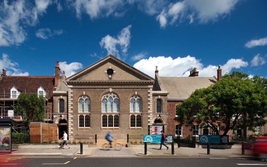 Foster Wilson Architects, green renovation, church renovation, heritage building, historic building, courtyard, England, listed buildings, glass walls, auditorium, performing arts center