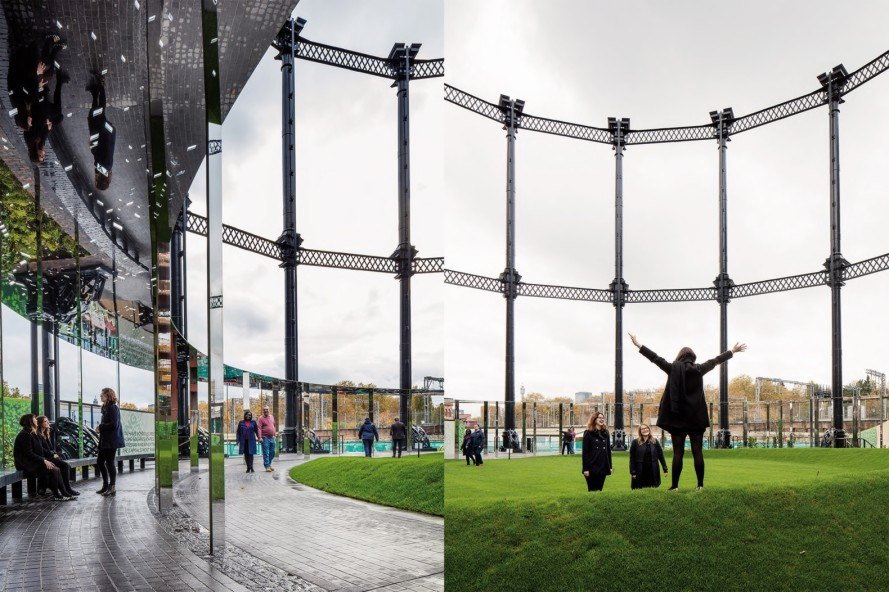 gas works, adaptive reuse, Gasholder Park, Gasholder Park by Bell Phillips Architects, Siamese Triplet gasholders, mixed use development, Hari Phillips, Bell Phillips Architects, King's Cross, London, park, Dan Pearson Studio