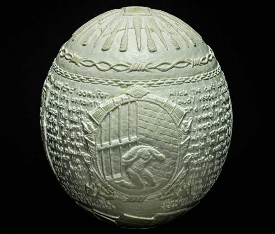 Gil Batle, Hatched in Prision, Ricco/Maresca gallery, ostrich egg shells, prison artists, egg shell reliefs, artwork, art exhibition nyc, prisoner artist, prison art, egg shell reliefs, carvings, egg shell carvings