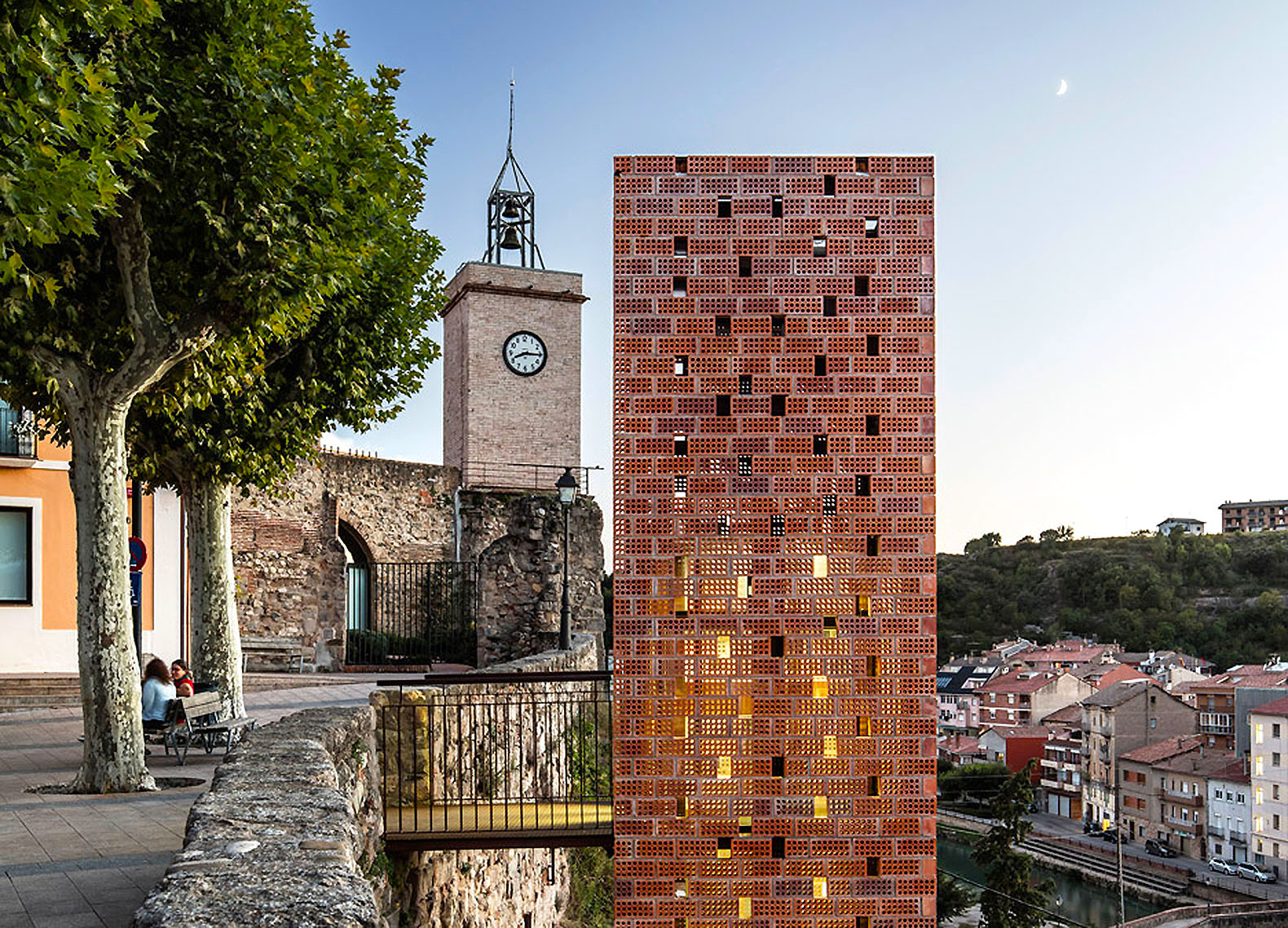 Beautiful Brick And Glass Elevator Connects Old New Parts Of Historic Catalan Town
