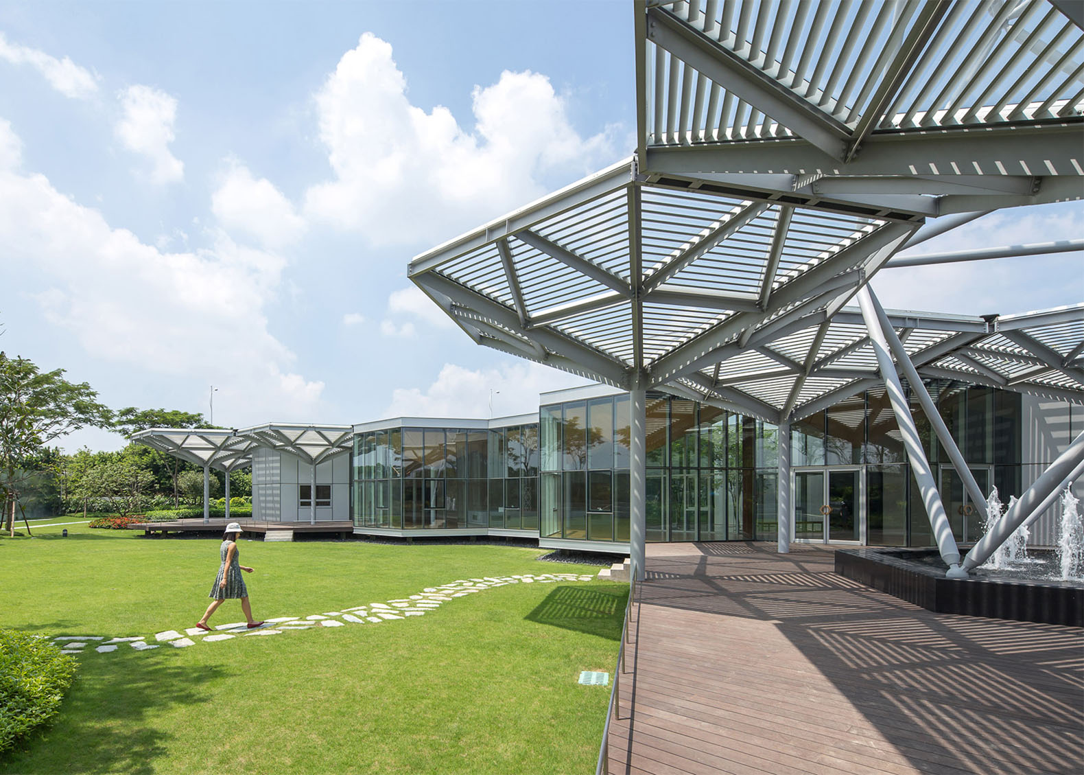 Eye catching hex sys buildings go up in a snap no glue for Prefabricated roofing systems
