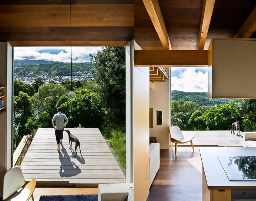 Island Bay House, Andrew Simpson, WireDog Architecture, Island Bay House by Andrew Simpson, Island Bay House by WireDog Architecture, floor to ceiling glass doors, white ash, torrefied white ash, passive solar, passive solar home, coastal home, Makoto Masuzawa