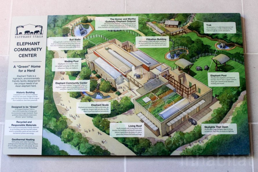 LEED Gold, Greenbuild, Greenbuild 2015, Smithsonian, Smithsonian LEED, National Zoo, Elephant Trails, geothermal wells, geothermal energy, steam-powered water tank, skylights, greywater system, elephants, elephant, Asian elephants, zoos, green roof, elephant conservation, LEED Gold Elephant Trails at the National Zoo