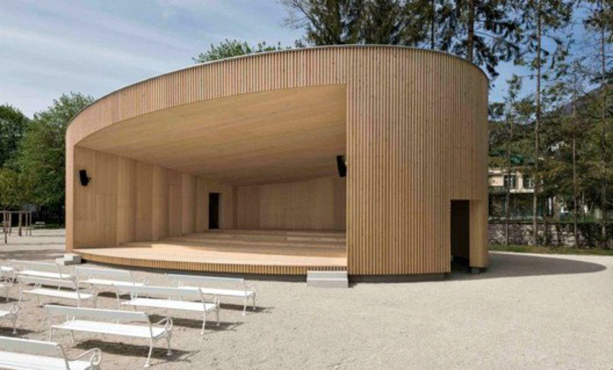 Music Pavilion, Two in a Box Architekten, Christian Stummer, Andreas Fiereder, architecture, timber construction, silver fir, elliptical buildings, timber buildings, timber construction, wooden pavilion, renewable wood, music pavilion austria, green design, sustainable design, timber design
