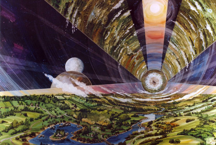 NASA, retro science fiction, science fiction art, space colony concept, concept art, public domain, NASA space colonies, life in space
