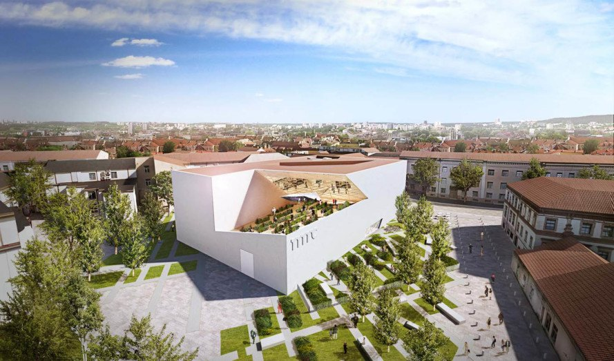 Studio Libeskind, New Lithuanian Modern Art Center, Vilnius, Lithuania, art museum, courtyard, green roof, green architecture, exhibition spaces, natural light, public plaza