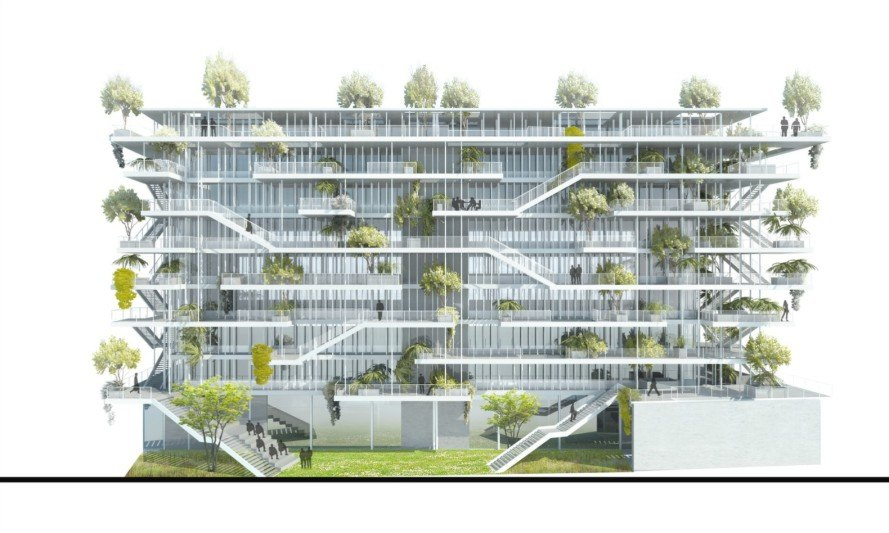"Nicolas Laisné Associés, Lyon, France, French architecture, bio-climatic work environment, certified BREEAM Very Good, BREEAM buildings, ""EcoCités"" design, green space, green design, green architecture, garden space, green buildings, green roof,"