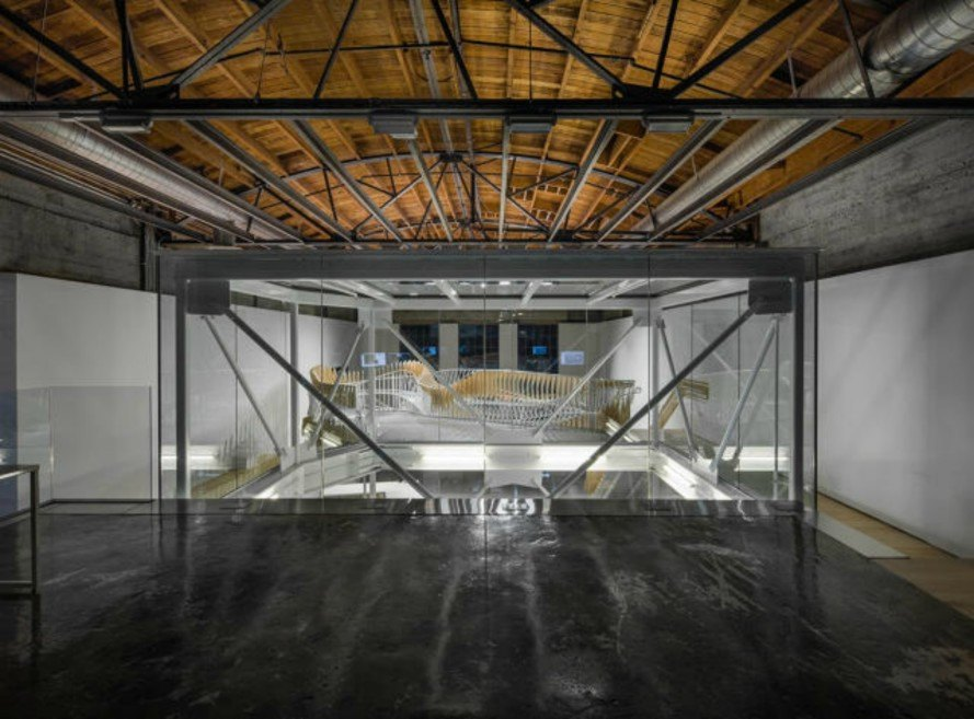 Oyler Wu Collaborative, 3DS Culinary Lab, twisty staircase, 3d printing, CNC- milled sheets, 3d printed food, staircase design, innovative staircases, 3d printed design, green design, steel staircases, wooden staircases,