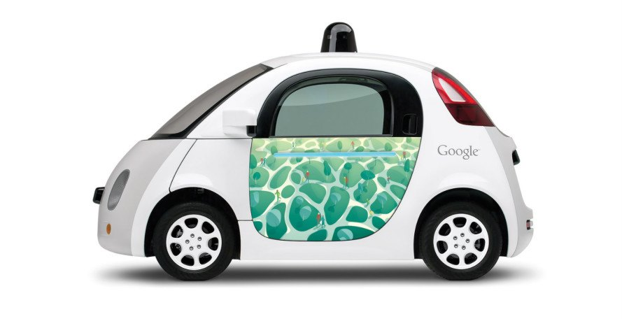 google car, self-driving car, artwork on cars, google doodle art, google self-driving cars