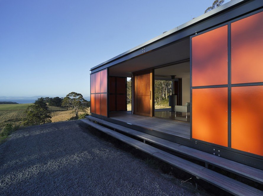 off grid home, prefab architecture prefab home, double glazed windows, Misho Vasiljevich, Misho+Associates, Premaydena House, Premaydena House by Misho+Associates, sustainable architecture, Tasmania, solar tube hot water system, solar power, modular architecture, Brightgreen LED, shoji screens, plantation grown timber, box within a box, rainwater collection, grey water, future proofing