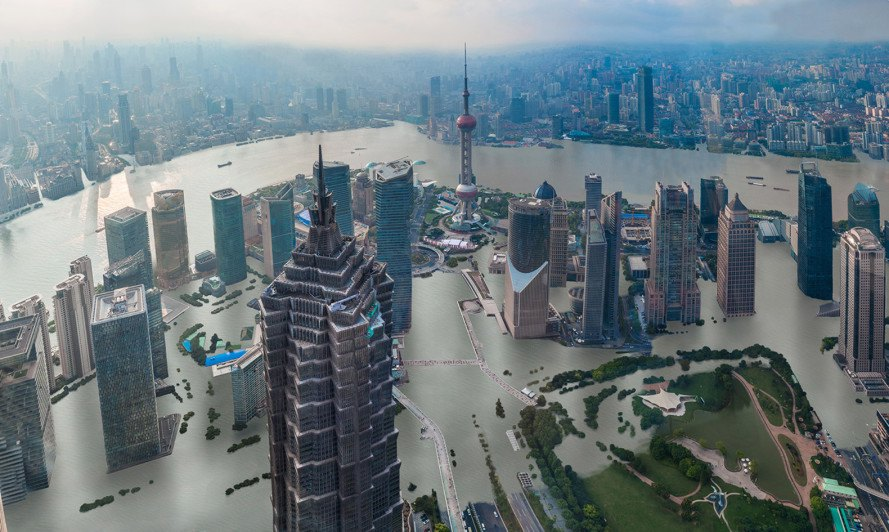Visualization of Shanghai with 4c rise in global temperatures