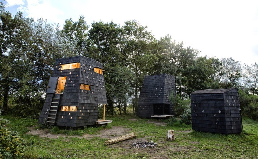 LUMO Architects, Shelters by the Sea by LUMO Architects, timber cabins. cabins, Blue Landmarks, South Fyn Archipelago, Fyn, wood tar oil, Denmark, Denmark islands,
