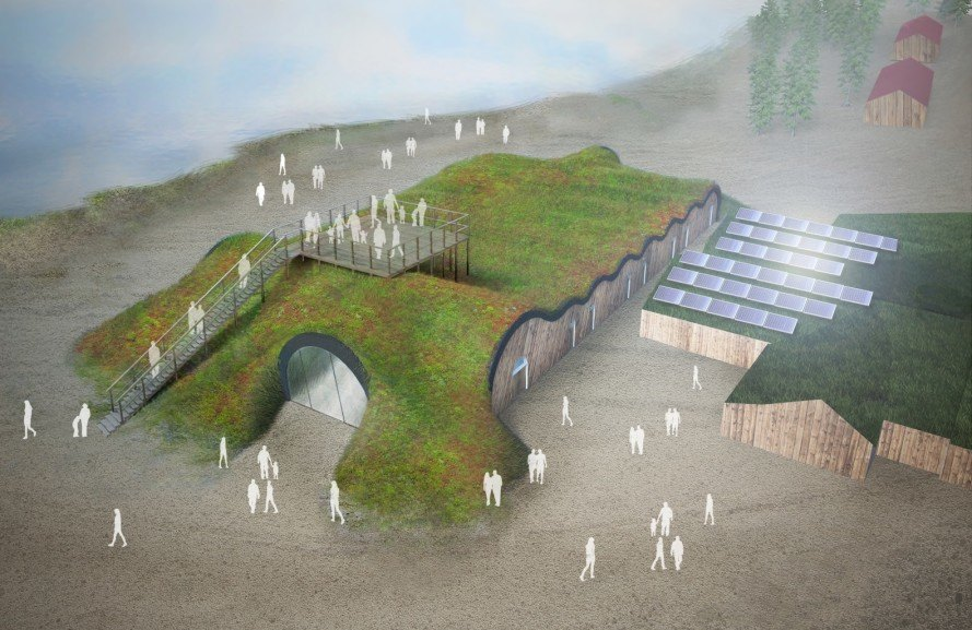 ICEHOTEL, Torne River, Yngve Bergqvist, Arctic Circle, Pinpin studio, solar power, solar energy, midnight sun, northern lights, green roof, ice suites, ice hotel, ice sculptures, ice hotel permanent, Solar-powered ICEHOTEL by PinPin Studio