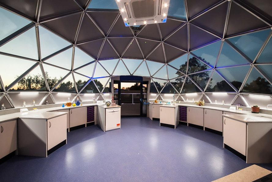 Solardome, science lab, geodesic dome, Solardome science lab, science lab dome, rooftop geodesic dome, Watford Grammar School for Girls, double glazing, insulated panels, electric source air pump