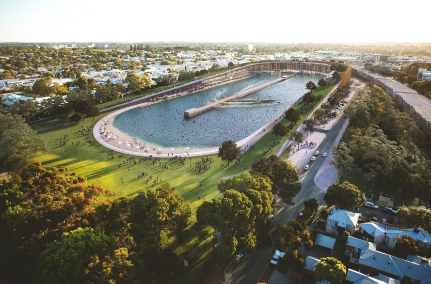 Subi Surf Park by MJA Studio, MJA Studio, surf park, adaptive reuse, converted football stadium, converted sports stadium, football stadium, Subiaco, green roof, wave pool, man made wave pool, URBN SURF, Subi Surf Park,