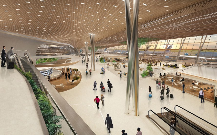 UN Studio, Taiwan Taoyuan International Airport, airport terminal, undulating roof, flexible spaces, small footprint, prefab, green facade, green architecture, Taiwan