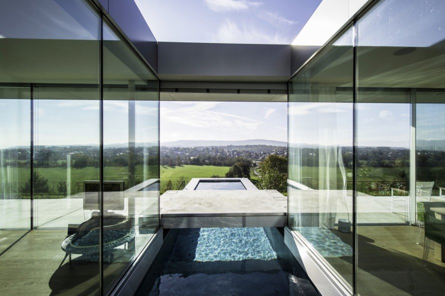 green roof, Thüringen, Villa K, solar power, solar energy, Paul de Ruiter Architects, Villa K by Paul de Ruiter Architects, heat exchanger, heat pump, sustainable architecture, green home, underfloor heating, ceiling cooling, floor to ceiling glazing, contemporary home