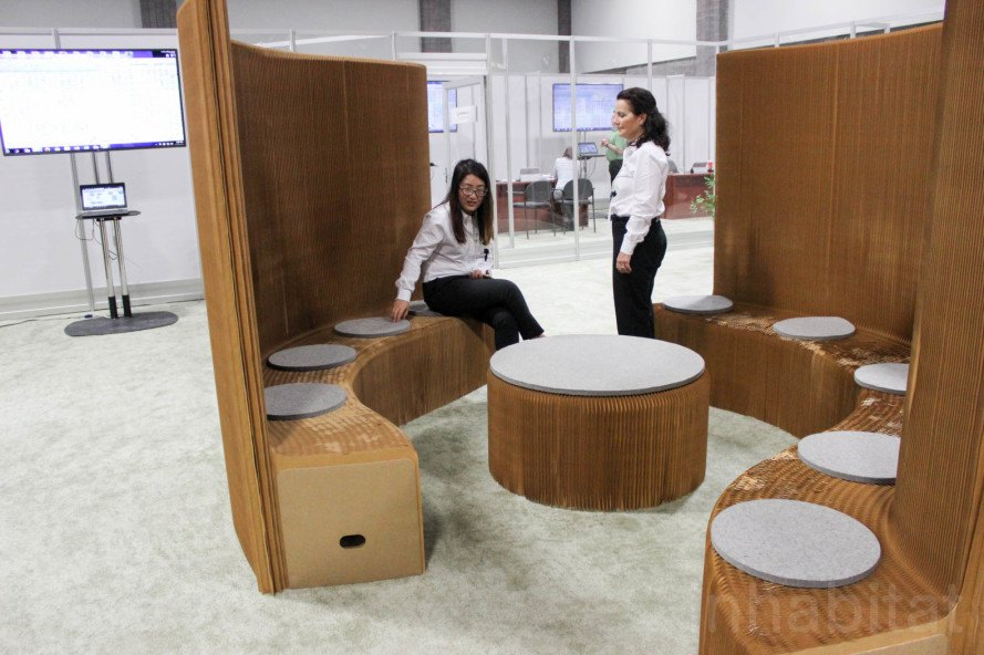 Greenbuild, Greenbuild 2015, molo, molo soft collection, molo benchwalls, Dwell, Arup, Stephanie Forsythe, Todd MacAllen, polyethylene, recyclable materials, paper structures, honeycomb geometry, paper architecture, space saving furniture, softblocks,