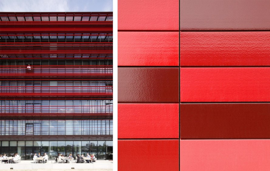 nps tchoban voss, berlin architecture, berlin sustainable architecture, berlin green buildings, red ceramic facade, coca cola headquarters