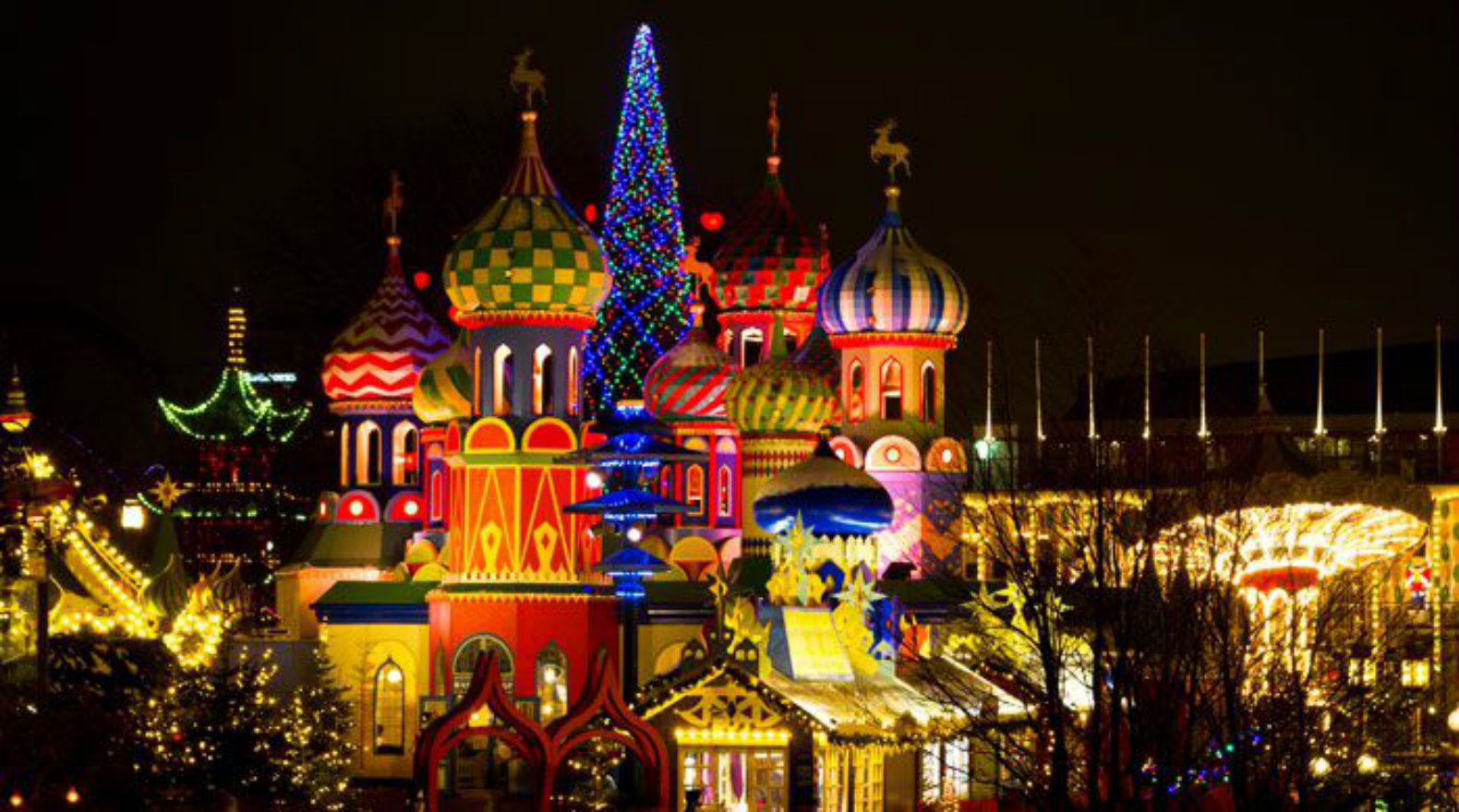Denmark Glows With The Lights Of Tivoli Market During The