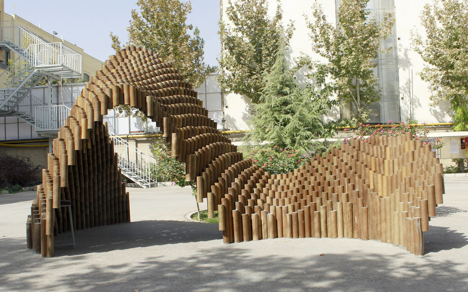 PIPE pavilion is made from over one thousand recycled ...