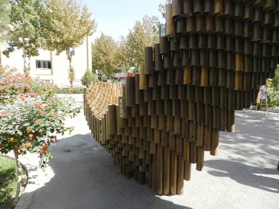 Farnaz Fattahi, Khayam University, reader submitted content, recycled cardboard tubes, PIPE pavilion, PIPE pavilion by Khayam University, Khayam University architecture, upcycling, recycled materials, temporary pavilion