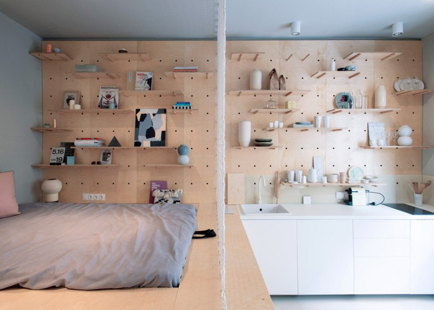 Air bnp by Position Collective, Position Collective, Airbnb, space saving furniture, small apartment design, tiny apartment design, Hungarian art, minimalist design, interior design, modular furniture, plywood