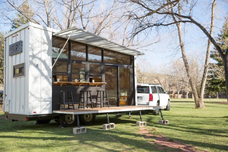 Atlas, Atlas tiny home, tiny house, tiny home, microhome, portable home, mobile home, tiny mobile home, solar powered home, solar powered tiny home, Atlas by F9 Productions, F9 Productions, rainwater collection, photovoltaic system,