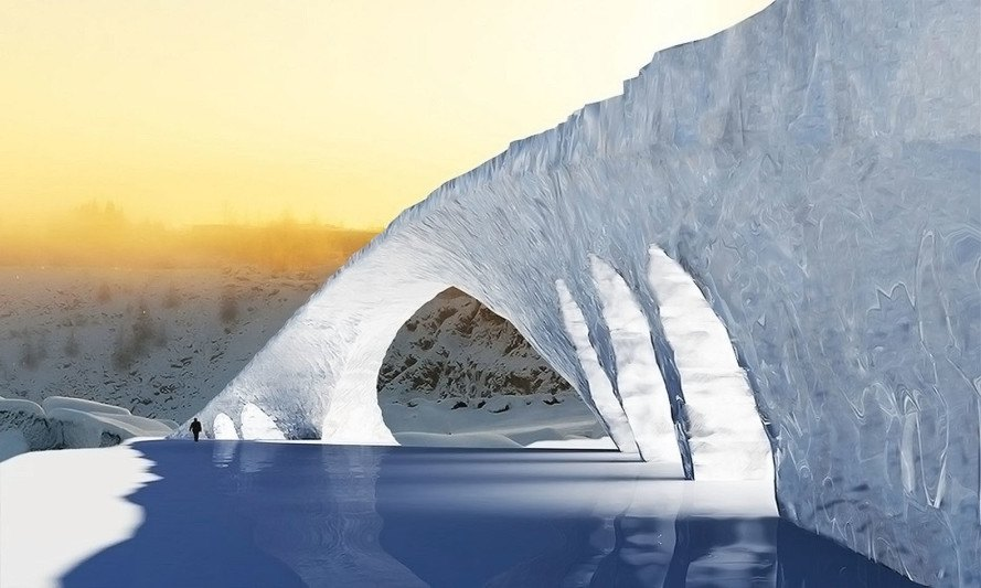 ice bridge, ice architecture, Finland, Jukka, green materials, recycled building materials, green architecture, student design