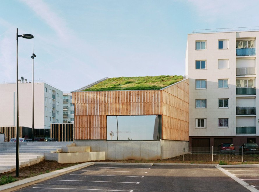 green roof, Paris, France, Guillaume Ramillien Architecture, Christian Marin Community Center, community center, wooden building, wood cladding, passivhaus, passive house, green architecture