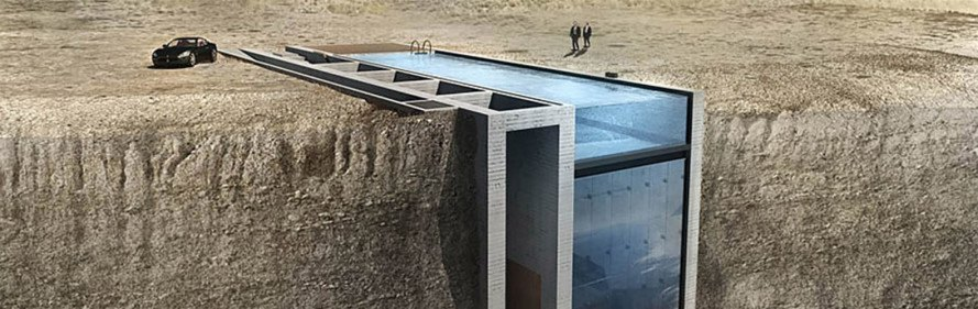 Casa Brutale, OPA, underground architecture, underground building, glass facade, raw concrete, brutalist building, swimming pool, waterfront architecture, Casa Malaparte