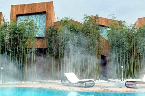 Elevation Workshop, Why Hotel, Bejing hotel hot springs, architecture, hotel architecture, timber-clad lodgings. timber hotels, bamboo fencing, green design, sustainable design, hotels in china, hotel design, bamboo grove, timber cabins, wood cabins, cabin design