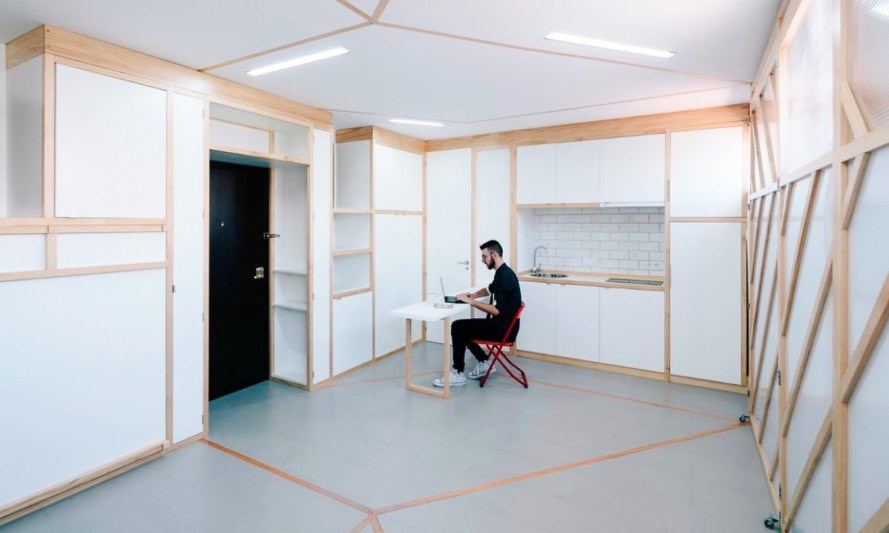 Biombombastic, Elii architects, madrid small apartment, space saving design, green design, compact spaces, compact apartments, tiny apartments, madrid archictecture, flexible design, space saving partitions, perspex screens, origami partition