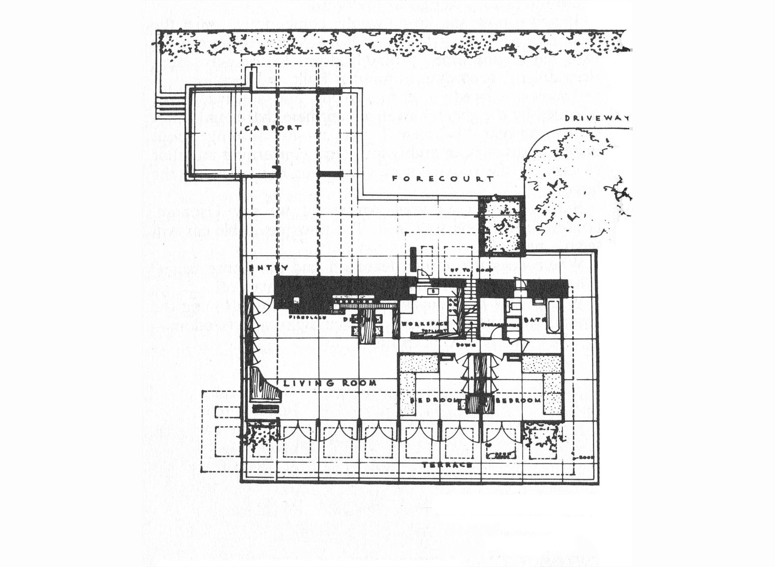 Frank lloyd wright 39 s usonian style george sturges house to for Frank lloyd wright floor plans