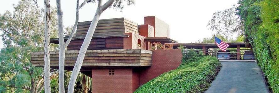 Frank Lloyd Wright, George Sturges House, Usonian house, Prairie house, open plan living room, natural materials, modern architecture, Los Angeles, Frank Lloyd Wright auction