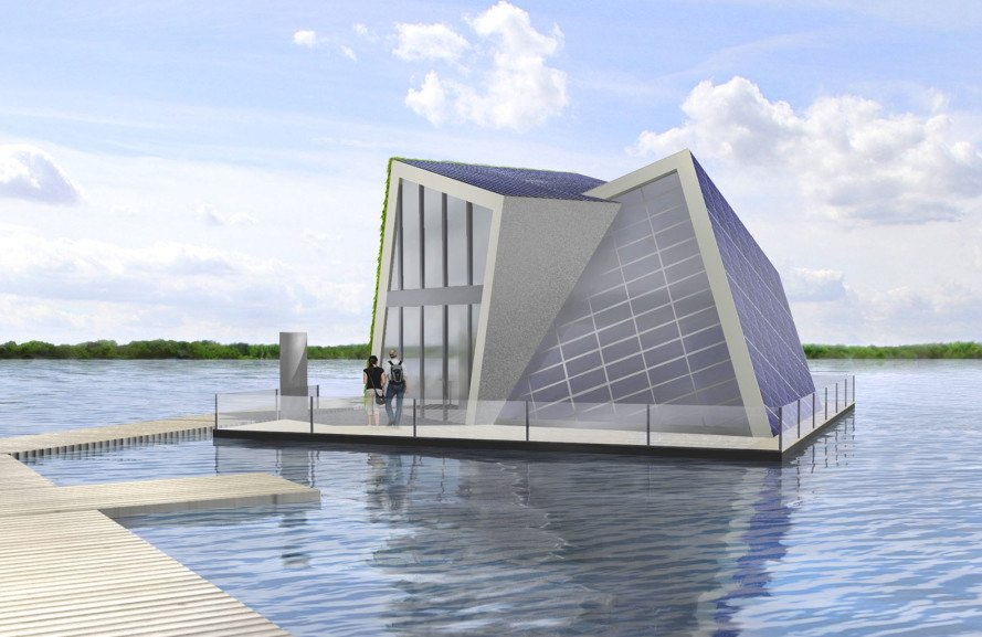 FreiLichtHaus, Fraunhofer, floating houses, floating architecture, self-sufficient homes, solar cells, solar panels, green fireplace, green roof, salt hydrate fireplace, zeolith thermal storage , energy storage