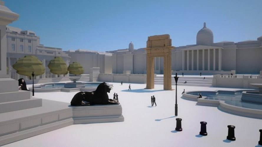 isis, isil, islamic state, syria, temple of bel, palmyra, palmyra arch, destroyed cultural heritage sites, unesco world heritage site, religious heritage, 3d printing, 3d printer, 3d printed temple arch, london, new york city