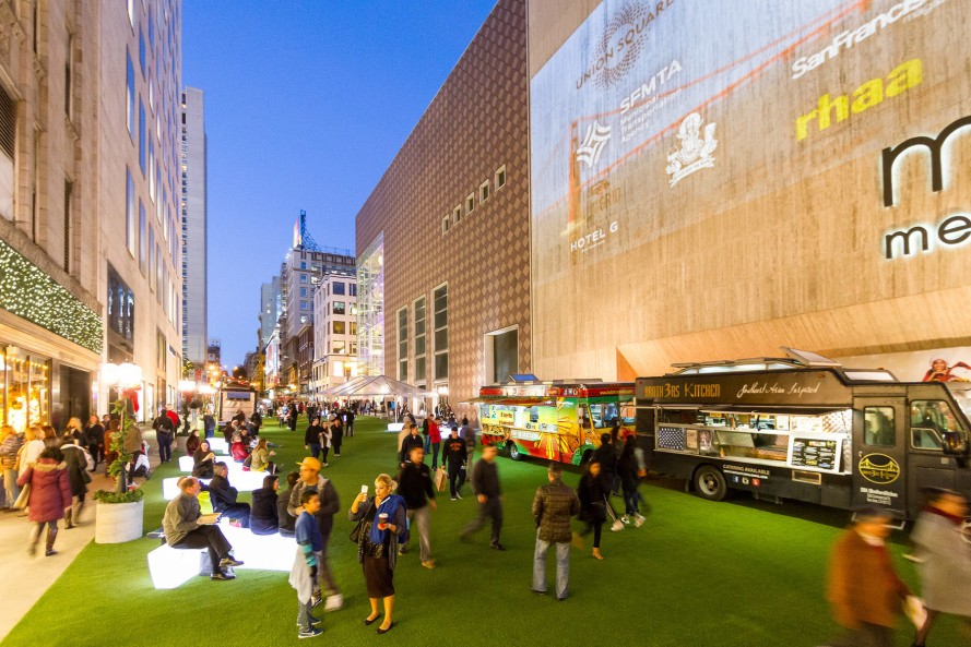 San Francisco, Winter walk, pop up plaza, urban design, Stockton street, reader submitted content, RHAA Landscape Architecture + Planning, Union Square Business Improvement District
